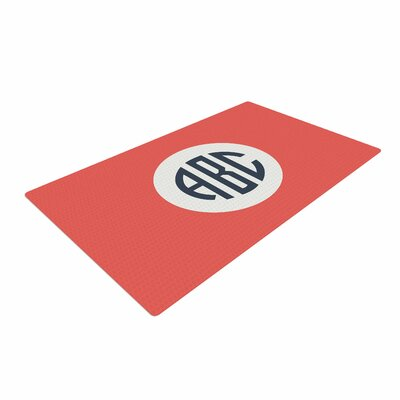 Classic Circle Monogram Digital Illustration Red Area Rug