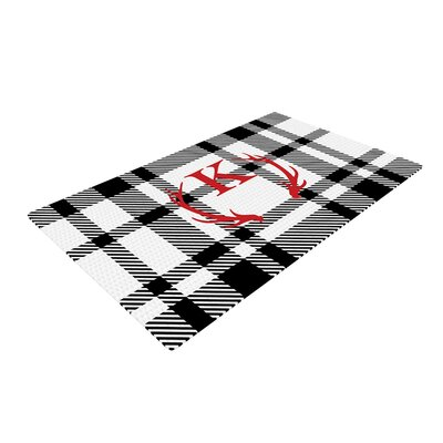 Plaid Monogram White Area Rug Rug Size: 2 x 3