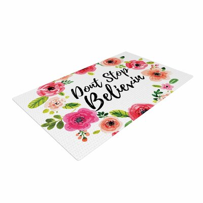 Dont Stop Believin Coral/White Area Rug
