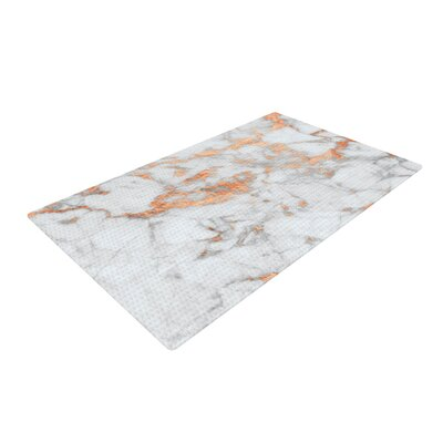Rose Flake White/Gold Area Rug Rug Size: 2 x 3