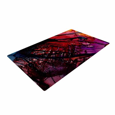Abstract Anarchy Design Daisy Purple/Yellow Area Rug
