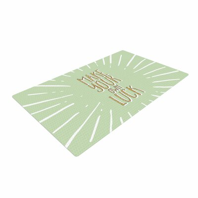 Make Your Own Luck Green/White Area Rug