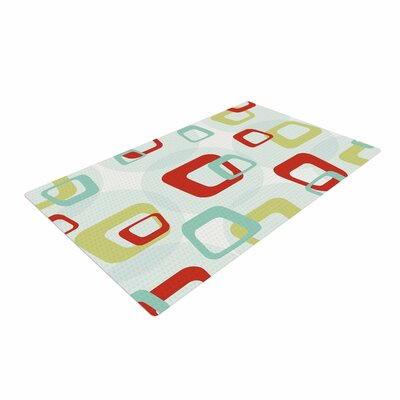 Retro Squares Red/Teal Area Rug