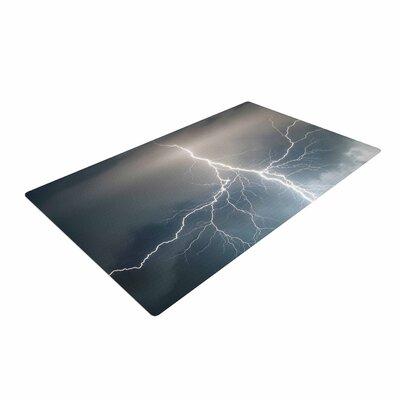 Lightning Storm Blue/White Area Rug
