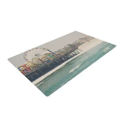 Laura Evans The Pier at Santa Monica Coastal Teal Area Rug Rug Size: 2 x 3