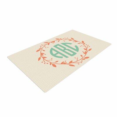 Classic Wreath Monogram Typography Green/Cream Area Rug