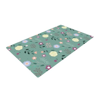 Louise Floral Green Area Rug Rug Size: 2 x 3