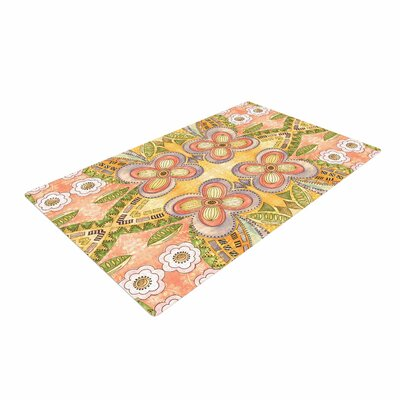 Louise Machado Ethnic Floral Illustration Green Area Rug