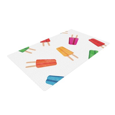 Raining Popsicle Digital White/Red Area Rug Rug Size: 2 x 3