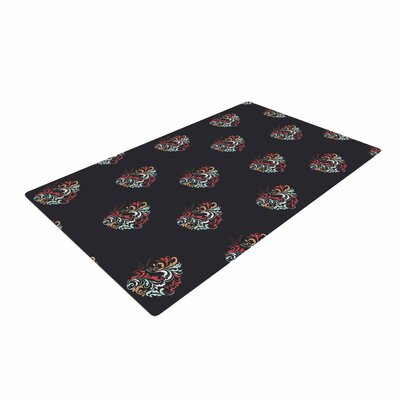 Louise Ornament Heart Christmas Red Area Rug