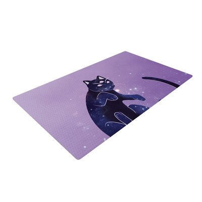 Cosmic Kitten Celestial Animal Purple/Blue Area Rug