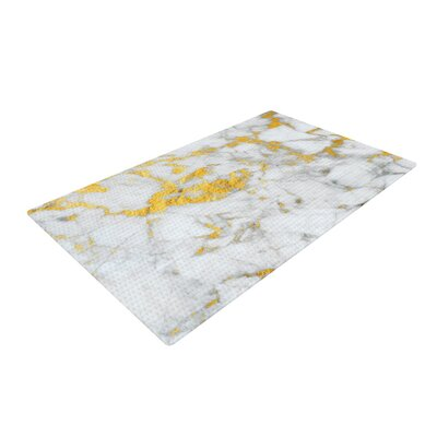 Flake Marble Metal Gold Area Rug
