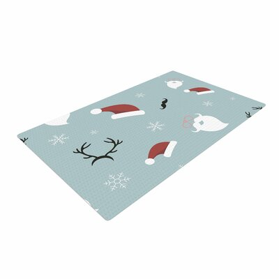 Louise Happy New Year Christmas Santa Teal Area Rug Rug Size: 4 x 6