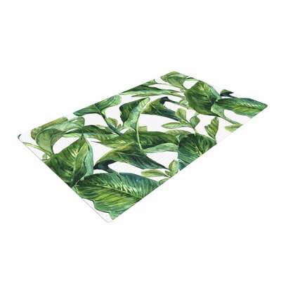 Banana Leaves Green/White Area Rug Rug Size: 2 x 3
