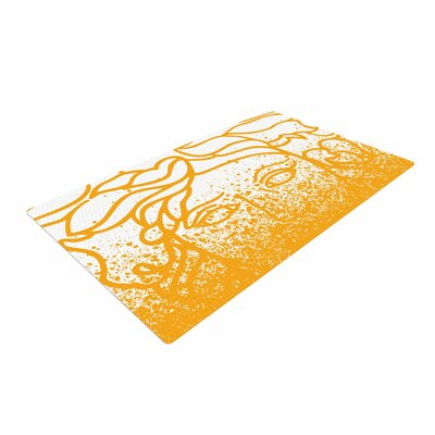 Just L Versus Spray Vector White/Gold Area Rug Rug Size: 4 x 6