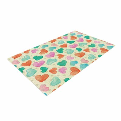 Louise Machado Watercolor Hearts Red Area Rug