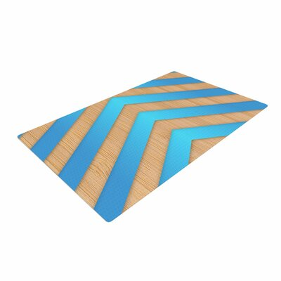 Marta Olga Klara Chevron Blue/Brown/Turquoise Area Rug