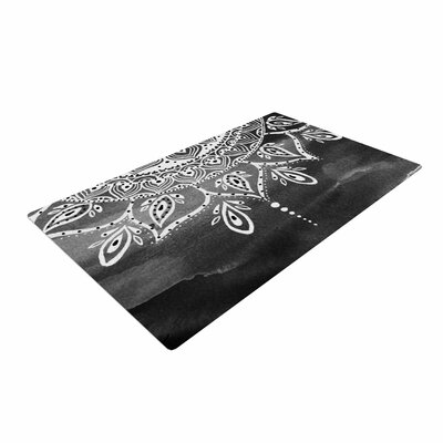Li Zamperini Mandala Abstract Black/White/Gray Area Rug Rug Size: 2 x 3