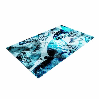 Li Zamperini Butterfly Abstract Blue/Black Area Rug