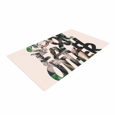 Just L Spoil Each Other Pink/Green Area Rug