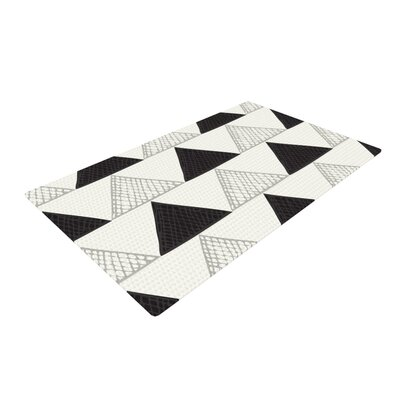 Laurie Baars Textured Triangles Abstract Geometric Black/White Area Rug