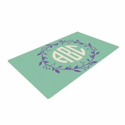 Classic Wreath Monogram Digital Lavender/Green Area Rug