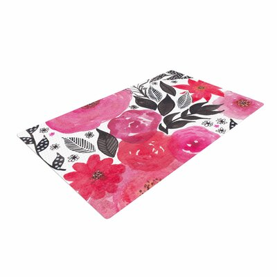 Li Zamperini Garden Rose Floral Pink Area Rug