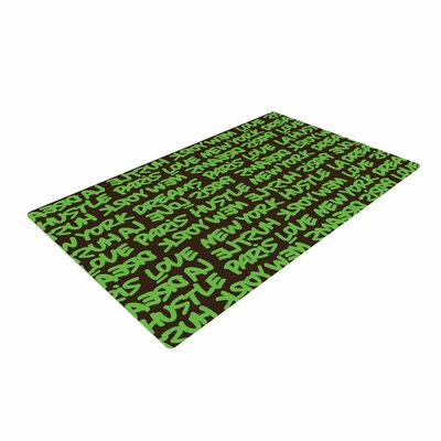 Just L Lux Writing Typography Green/Brown Area Rug