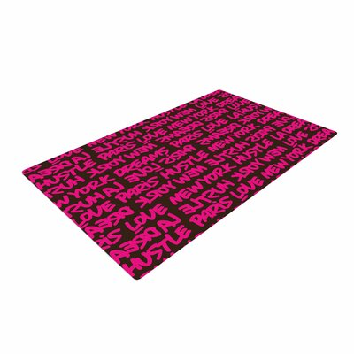 Just L Lux Writing Typography Urban Pink Area Rug