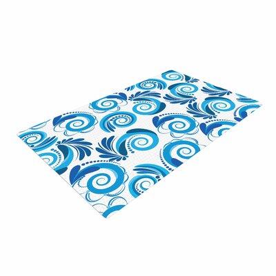 Maria Bazarova Waves White/Blue Area Rug