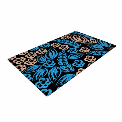 Maria Bazarova Flowers Blue/Black Area Rug