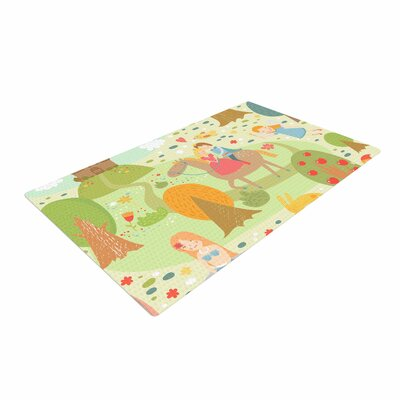 Petit Griffin Fairy Tale Fantasy Illustration Green/Brown Area Rug