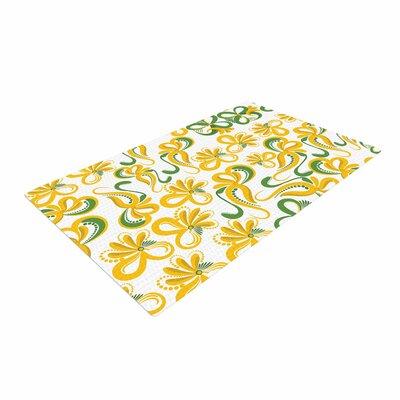 Maria Bazarova Flowers Abstract Digital Green/Yellow Area Rug
