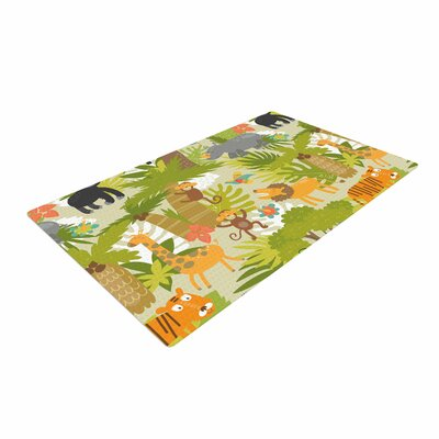 Petit Griffin Roar of the Jungle Animals Green Area Rug