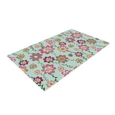Nika Martinez Romantic Floral in Mint Pink/Teal Area Rug