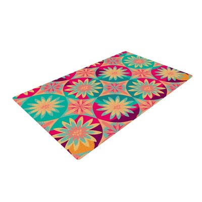 Nika Martinez Happy Flowers Floral Abstract Blue/Pink Area Rug