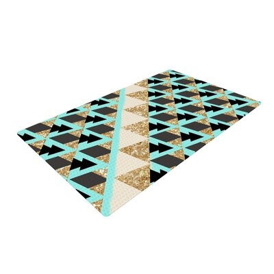 Nika Martinez Glitter Triangles in Gold & Teal Blue/Brown Area Rug