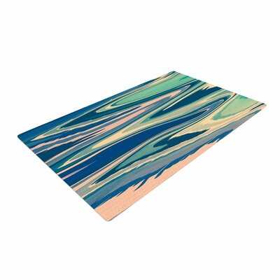 Nika Martinez Beach Waves Abstract Pink Area Rug Rug Size: 2 x 3
