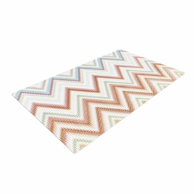 Nika Martinez Seventies Chevron Pattern Beige Area Rug