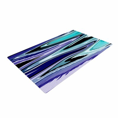 Nika Martinez Beach Waves Abstract Teal Area Rug Rug Size: 2 x 3