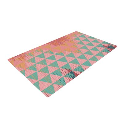 Nika Martinez Ikat Geometrie II Green/Pink Area Rug