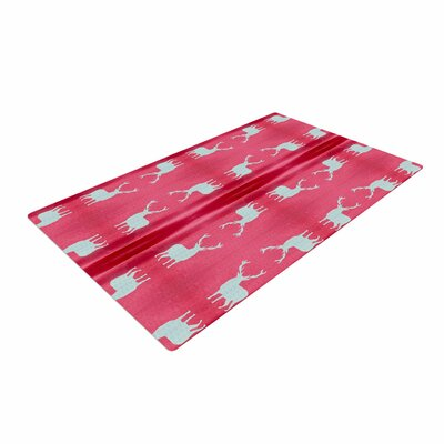 Nika Martinez Deer Tie Die Red/Teal Area Rug
