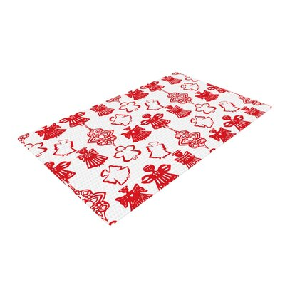 Miranda Mol Angels Singing Holiday Red/White Area Rug