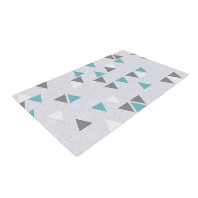 Nick Atkinson Triangle Love II Gray/Teal Area Rug Rug Size: 2 x 3