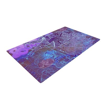 Marianna Tankelevich Abstract with Wolf Illustration Purple Area Rug Rug Size: 4 x 6