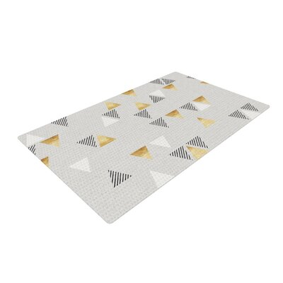 Nick Atkinson Triangle Love Gray/Gold Area Rug Rug Size: 2 x 3