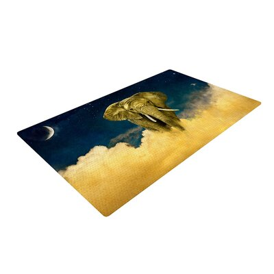 Nick Atkinson Celestial Elephant Black/Blue Area Rug Rug Size: 2 x 3