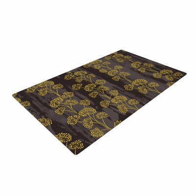 Neelam Kaur Textured Floral Elegance Brown/Yellow Area Rug