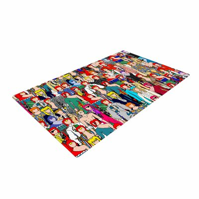 Notsniw Wheres Bowie? Red/Black Area Rug