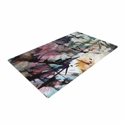 Malia Shields Abstract Trees Painting Black Area Rug